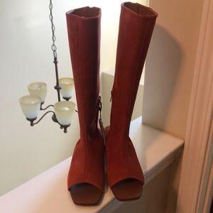 Rust Peep Toe Boots